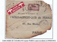 RRRARE LETTRE ACCIDENT D'AVION CASABLANCA PARIS 1933 AFFRANCHIE MAROC YT 6