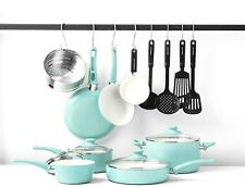 16-Pc Soft Grip Pfoa-Free Oven Safe Nonstick Ceramic Cookware Pan Set Turquoise