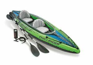 Intex Challenger K2 Kayak, 2-Person Inflatable Set w/ Aluminum Oars, Pump, Bag
