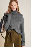 New Anthropologie Coretta Shine Turtleneck Sweater Black Shimmer S  NWT