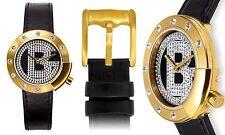 NEW Baldinini BD-28-LV Women's Fashion Stylish Long Logo Ladies Gold/Black Watch