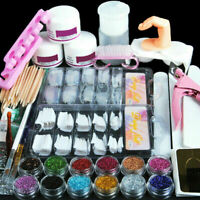 Acrylic Nail Kit Acrylic Powder Glitter Nail Art Manicure Tool Tips Brush Set UK