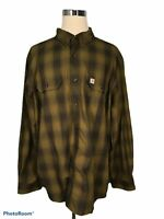 Carhartt Relaxed Fit Men's Shirt 2XL XXL Plaid Army Green Gray Long Sleeve