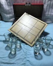 Vintage Shot Glass Drinking Game Tic Tac Toe Leather Box Set of 10 Asian Theme