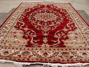 New Red Love Beauty Floral Oriental Rug Hand Knotted Wool Silk Carpet (6 x 4)'