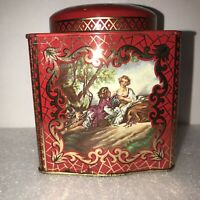 VINTAGE RED & GOLD METAL DAHER TIN MADE IN ENGLAND ROMANTIC COUPLE ORNATE DECOR