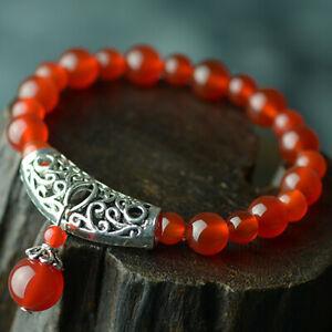 Large Agate Stone Buddhist Prayer Mala Bracelet Band With Tibetan Silver Fan