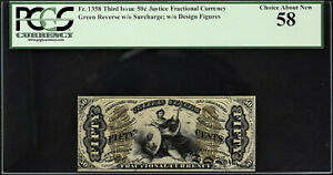 Justice Fractional Currency Third Issue 50 Cents FR# 1358 AUNC PCGS 58