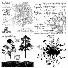 Flower Plants Clear Rubber Stamps Seal Scrapbooking Embossing Stencil DIY Album