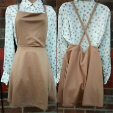Boohoo Cross Back Pinafore Dress camel Brand New With Tags Size 14 1940s retro