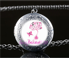 Breast cancer awarenes Glass Tibet Silver Chain Locket Pendant Necklace#S29