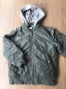 Boys Khaki Green & Grey Hooded Coat Jacket By H&M Age 2-3-4 Years