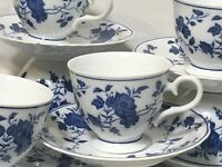 LOT OF 5 ROYAL MEISSEN JAPAN BLUE AND WHITE FLORAL TEA CUP AND SAUCER