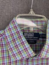 polo L sleave button up custom fit plaid 16/Long