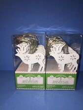 "NEW! 14 Metal Christmas Tree ""BUCK""  Reindeer White LED Lights Battery Operated"