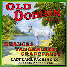 Lady Lake Florida Old Dobbin Donkey Mule Orange Citrus Fruit Crate Label Print