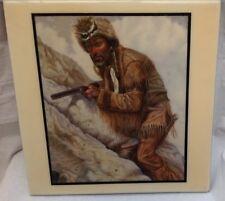 Vintage Decorative Ceramic Tile Old West American Mountain Man Trapper