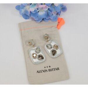 Alexis Bittar Lucite Cushion Crystal LARGE Drop Earrings NWT