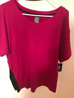 Champion Women's Boat Neck  Tee T-Shirt Jersey Short Sleeve Size S NWT Machenta