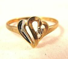 DIAMOND HEART LOVE VINTAGE RING WHITE YELLOW 1.3GR GOLD SIZE 8 SIZABLE -GORGEOUS