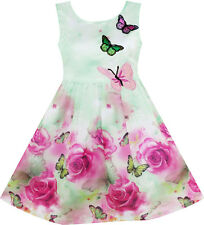 Flower Party Girls Dress Rose Print Butterfly Embroidery Purple Age 4-12