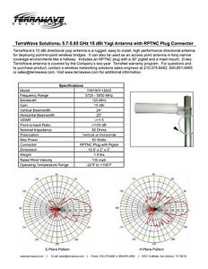 TerraWave Solutions® 5.7-5.85 GHz 15 dBi Yagi Antenna with RPTNC Plug