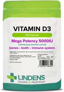 VITAMIN D3 5000IU High Strength 360 Capsules Soft Gel Immune Health Lindens