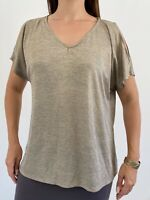 NEW MILLERS Gold Marl Stretch Cold Shoulder T-shirt Top Plus Size AU 18 Casual