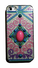Big Stone Matte Vintage Pattern Jewelry Bling Case For Iphone 5 5S Pink  Blue