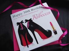 Handmade Personalised Birthday Card Shoes Mother Sister Niece Mum Wife Friend