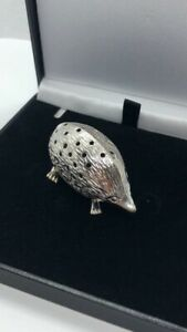 STERLING SILVER 925 HEDGEHOG PIN CUSHION BLACK VELVET NEW IN POUCH