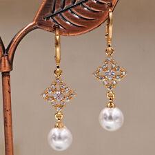 18K Gold Filled - 1.5'' Hollow Clover Flower Pearl Gems Zircon Topaz Earrings DS