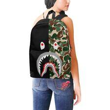 Shark Camo School College Nylon Backpack Bag