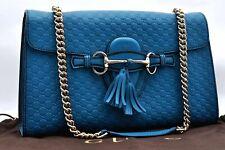 Authentic GUCCI Micro GG Guccissima Leather Shoulder Bag Light Blue A1223
