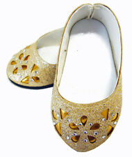 """Gold Glitter Bling Ballet Flats Shoes for 18"""" American Girl Doll Clothes"""