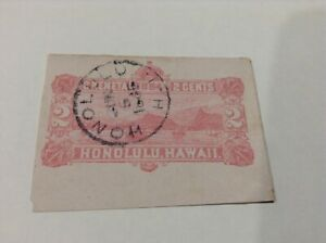 Hawaii ,2 CENT Red, view of Honolulu Bay, cut out, Dated 5 June 1886