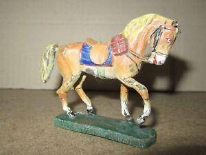 741Q 1930'S O&M Soft Elastolin Composition Germany Horse Beige H 7.7 CM