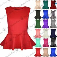 Womens Peplum Sleeveless Top Skater Flared Frill Mini Party Dress Plus Size 8-26