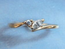 14K Yellow Gold Engagement Ring, 4mm Marquis & 1.8mm Round Diamond, size 5.25