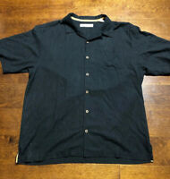 Tommy Bahama Men's Button Shirt Third and Long Sand Drift Size Large Black