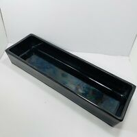 Yamasan Ikebana Black Flower Vase Sculptural Rectangle MCM Japanese Pottery