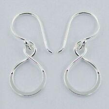 Genuine 925 Sterling Silver Infinity Symbols Earrings Eternity Knot Asymmetrical
