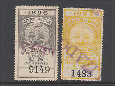 Argentina, Buenos Aires, Forbin 3, 9 used 1896-97 Derecho de Guia Fiscals
