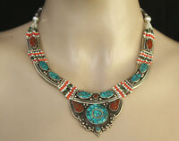 Asian TribalSterling silver Necklace Ethnic Handmade Tibetan Turquoise Coral N4A