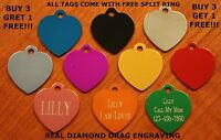 "Custom Engraved DOUBLE SIDED Tag Pet ID  HEART  DOG CAT ""PREMIUM QUALITY"""