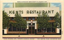 Linen Roadside Postcard Kent's Downtown Restaurant Atlantic Ave Atlantic City NJ
