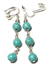 Long Drop Dangle Silver Turquoise Clip On Earrings Gemstone Beads