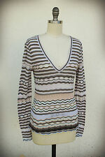 Missoni M Made in Italy Size 6/8 Fine Knit Top Wave Elipse Stripe Art Deco