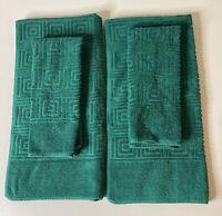 Vintage MCM Mid Mod Fieldcrest 4 Towels Set Sculpted Geometric Green RARE