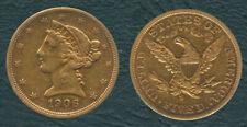 1906-S US Liberty / Coronet Head - Half Eagle $5 Five Dollars Gold Coin